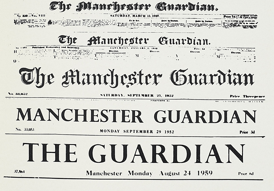 Mastheads from the 'Manchester Guardian' and 'Guardian' newspaper
